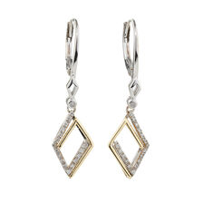 Drop Earrings with 0.12 Carat TW of Diamonds in Sterling Silver & 10ct Yellow Gold