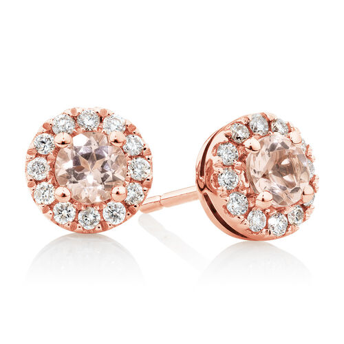 Stud Earrings with Morganite & 0.22 Carat TW of Diamonds in 10ct Rose Gold