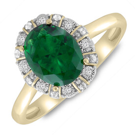 Ring with Created Emerald & Diamond in 10ct Yellow Gold