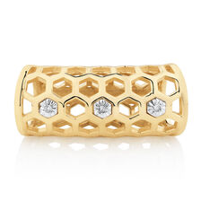 Diamond Set Honeycomb Wild Hearts Sleeve in 10ct Yellow Gold