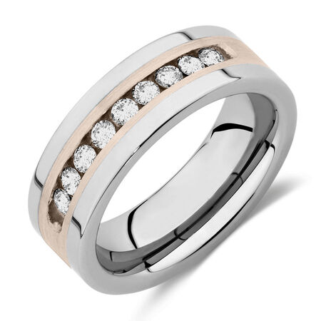 Men's Ring with 1/2 Carat TW of Diamonds in Grey Tungsten & Sterling Silver