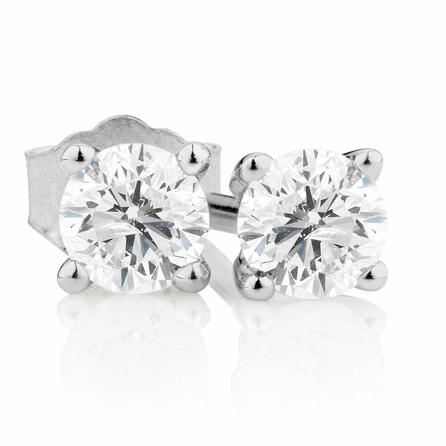 Stud Earrings with 0.25 Carat TW of Diamonds in 14ct White Gold