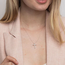 Cross Pendant in 10ct White Gold With 1/4 Carat TW of Diamonds
