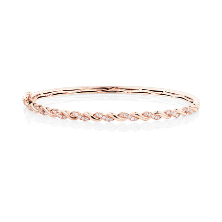 Twist Bangle With 0.33 Carat TW Diamonds In 10ct Rose Gold