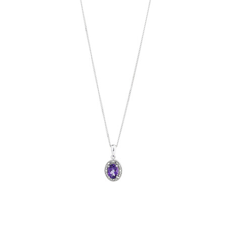 Halo Pendant with Diamonds and Amethyst in Sterling Silver