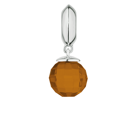 Orange Glass & Sterling Silver Wild Hearts Dangle Charm