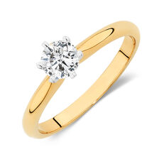 Certified Solitaire Engagement Ring with a 1/2 Carat TW Diamond in 18ct Yellow & White Gold