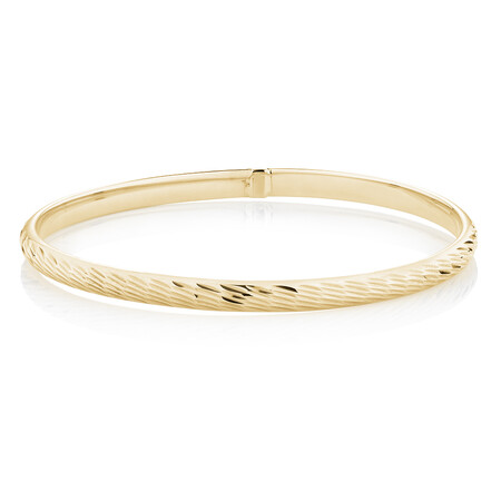 Diamond Cut Bangle in 10ct Yellow Gold