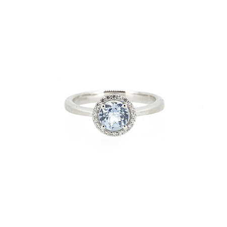 Halo Ring with Created Aqua and Cubic Zirconia in Sterling Silver