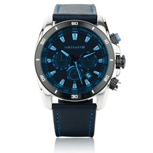 Men's Chronograph Watch in Stainless Steel & Leather