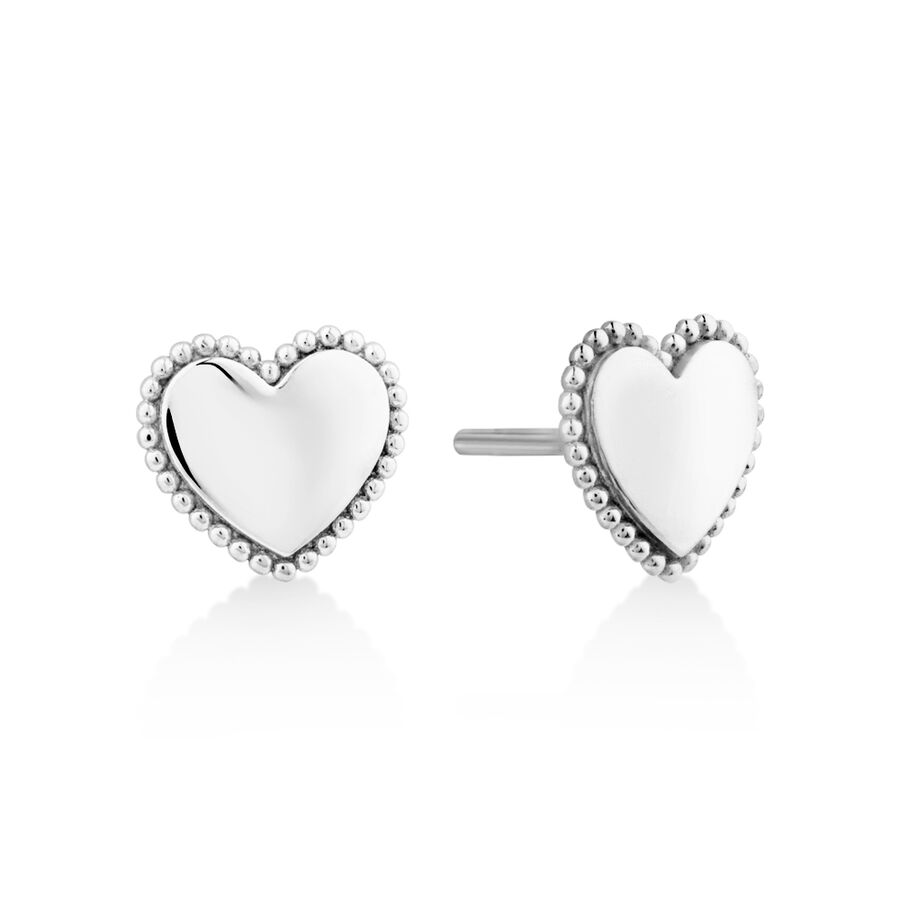 Beaded Border Heart Studs in Sterling Silver