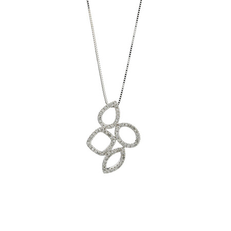 Online Exclusive - Geometric Pendant with 1/5 Carat TW of Diamonds in 10ct White Gold