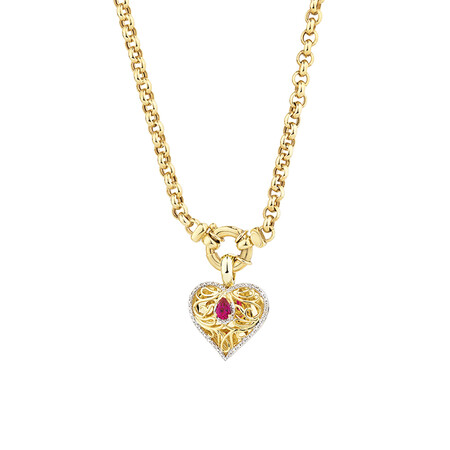 Heart Pendant with Created Ruby and 0.15 Carat TW of Diamonds in 10ct Yellow Gold