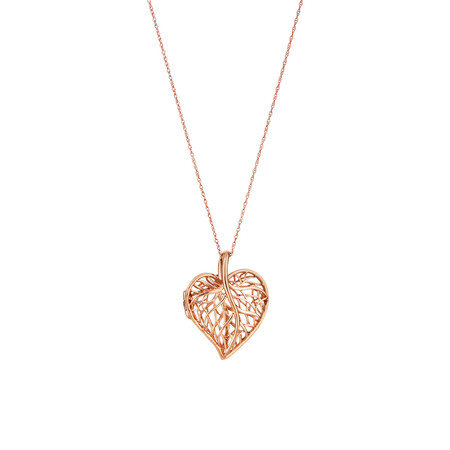 Heart Leaf Pendant witch Chain in 10ct Rose Gold