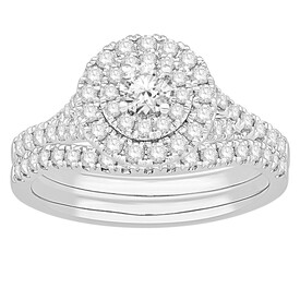 Bridal Set with 1.00 Carat TW of Diamonds in 18ct White Gold