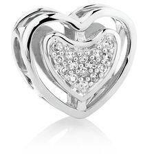 Diamond Set Sterling Silver Heart Charm