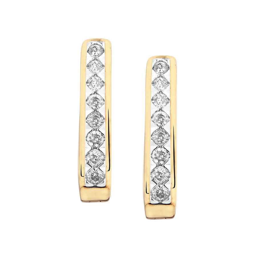 Huggie Earrings with 0.34 Carat TW of Diamonds in 10ct Yellow Gold