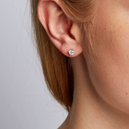 Stud Earrings with 0.70 Carat TW of Diamonds in 14ct White Gold