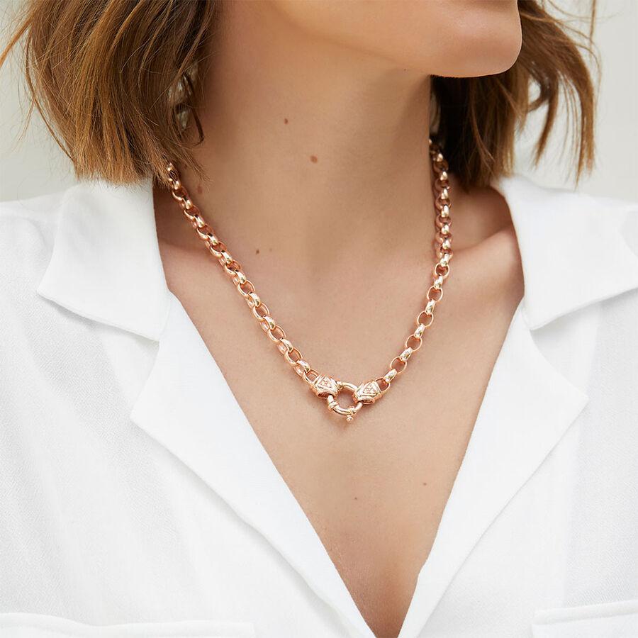 "45cm (18"") Diamond Set Solid Belcher Chain in 10ct Rose Gold"
