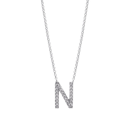 """""""N"""" Initial necklace with 0.10 Carat TW of Diamonds in 10ct White Gold"""