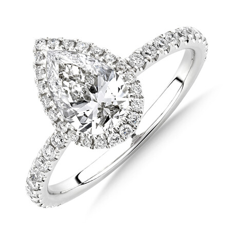 Sir Michael Hill Designer Halo Pear Engagement Ring with 1.36 Carat TW of Diamonds in 18ct White Gold