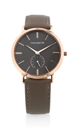 Chronograph Watch in Rose Tone Stainless Steel & Brown Leather