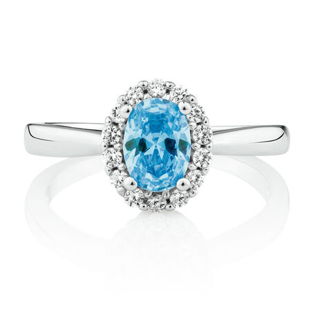 Ring with Blue & White Cubic Zirconia in Sterling Silver