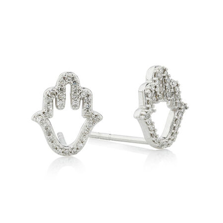 Online Exclusive -  Earrings with Diamonds in Sterling Silver
