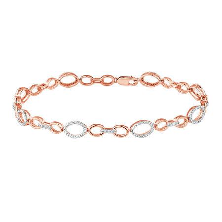 Bracelet with 1/5 Carat TW of Diamonds in 10ct Rose Gold