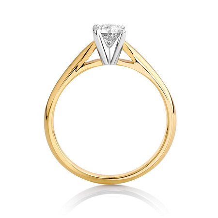 Solitaire Engagement Ring with 1/2 Carat Diamond in 14ct Yellow & White Gold