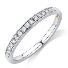 Whitefire Wedding Band with 0.15 Carat TW of Diamonds in 18ct White Gold & 22ct Yellow Gold