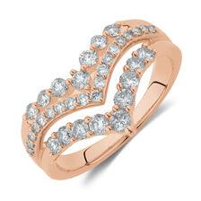 Three Row Chevron Ring with 0.75 Carat TW of Diamonds in 10ct Rose Gold
