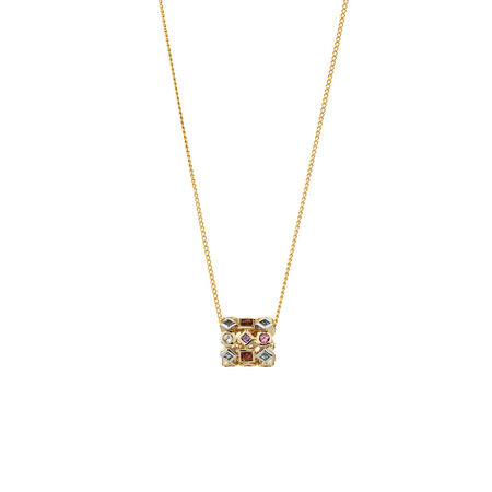 Online Exclusive - Barrel Pendant with Natural Multi Coloured Gemstones in 10ct Yellow and White Gold.