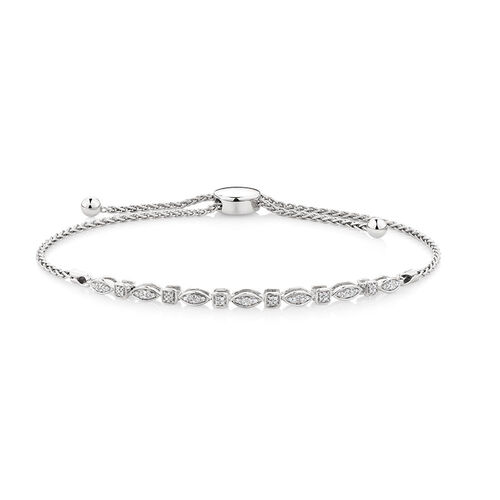 Adjustable Tennis Bracelet with Diamonds in Sterling Silver