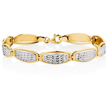 "19cm (7.5"") Bracelet in 10ct Yellow & White Gold"