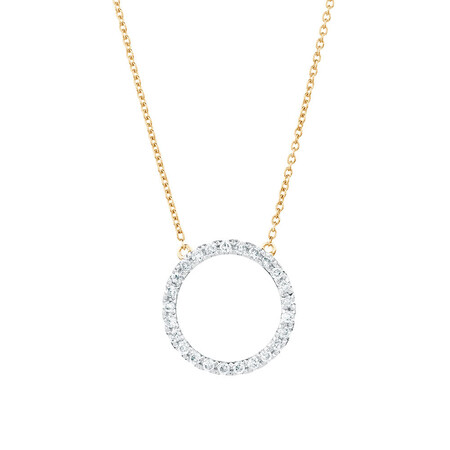 Geometric Circle Necklace with Diamonds in 10ct Yellow Gold