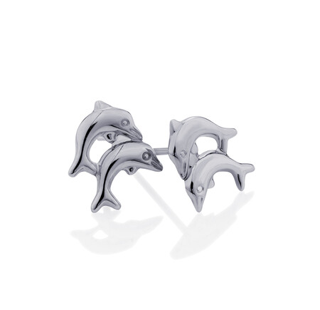 Dolphin Stud Earrings in 10ct White Gold