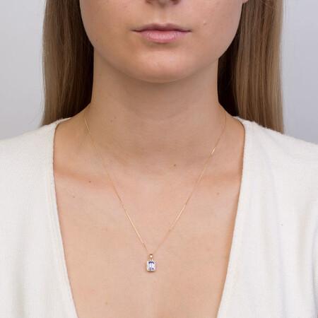 Pendant with Tanzanite & Diamonds in 10ct Yellow & White Gold