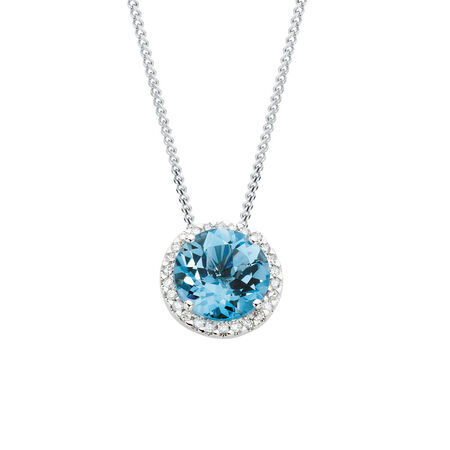 Online Exclusive - Pendant with Blue Topaz & 0.23 Carat TW of Diamonds in 10ct White Gold