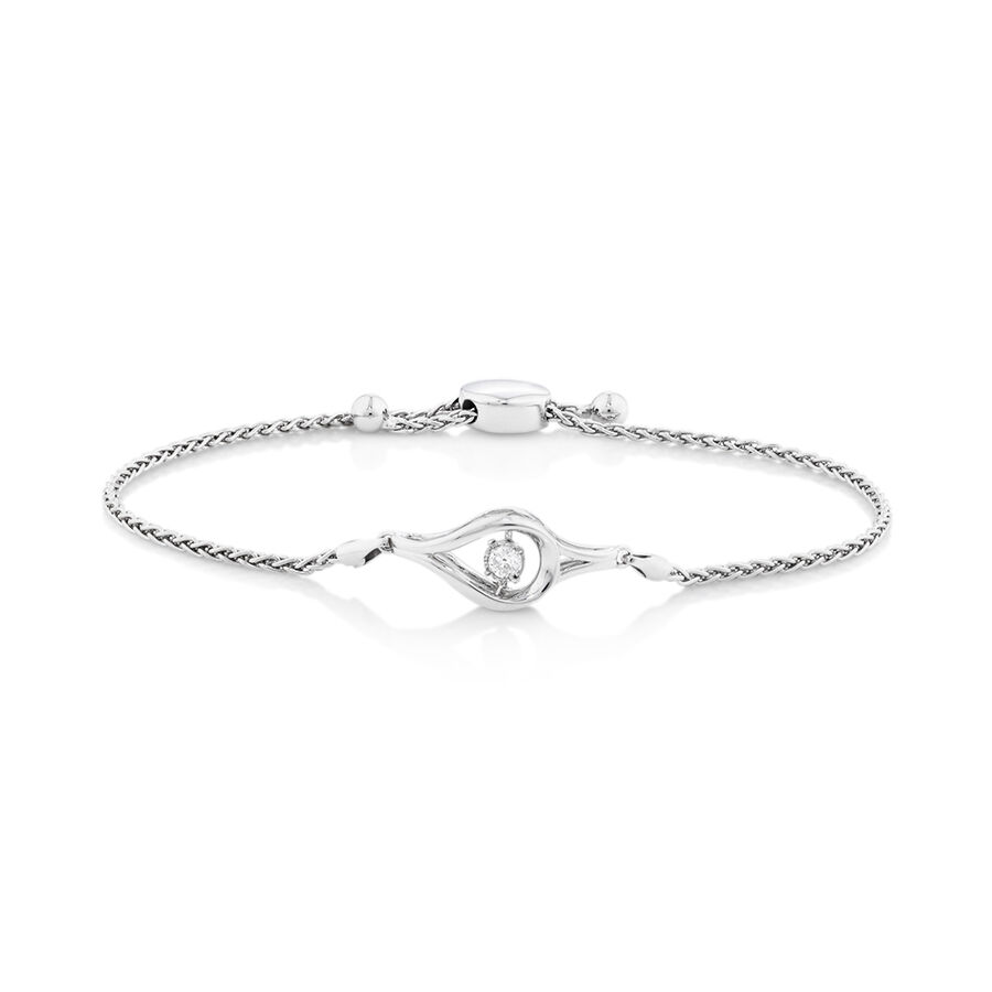 Everlight Adjustable Bracelet with a Diamond in Sterling Silver