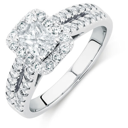 Engagement Ring with 0.90 Carat TW of Diamonds in 14ct White Gold
