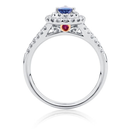 Michael Hill Designer Ring with Tanzanite & 1/2 Carat TW of Diamonds in 14ct White & Rose Gold