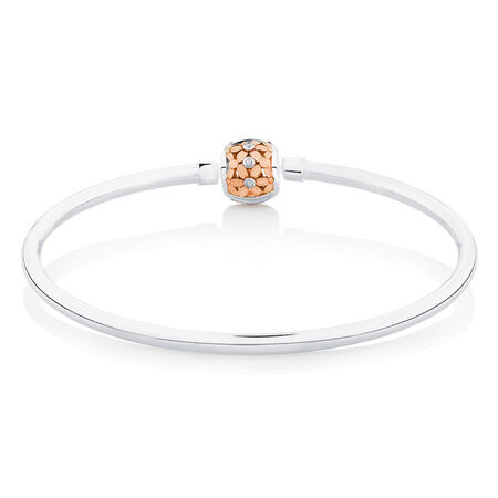 Diamond Set Bangle in 10ct Rose Gold & Sterling Silver