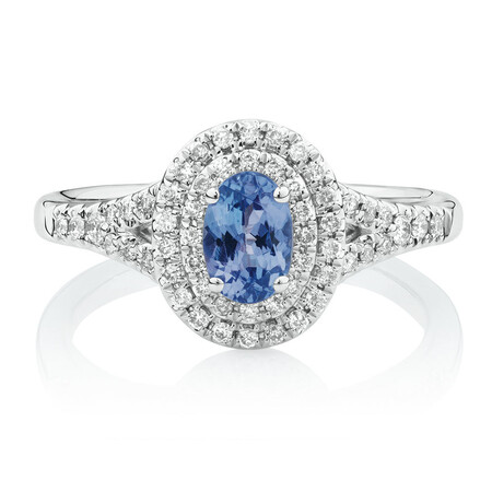 Michael Hill Designer Fashion Ring with Tanzanite & 1/4 Carat TW of Diamonds in 10ct White Gold