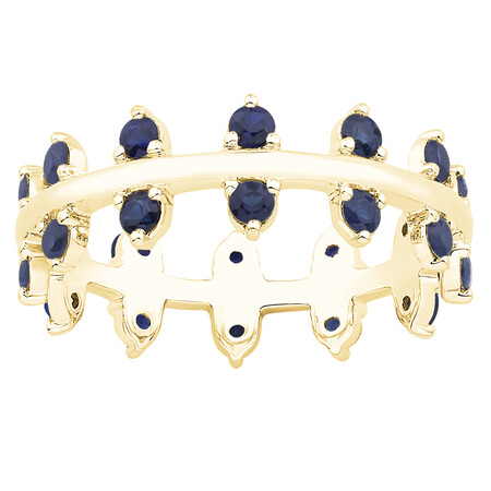 Zipper Ring with Blue Sapphire in 10ct Yellow Gold