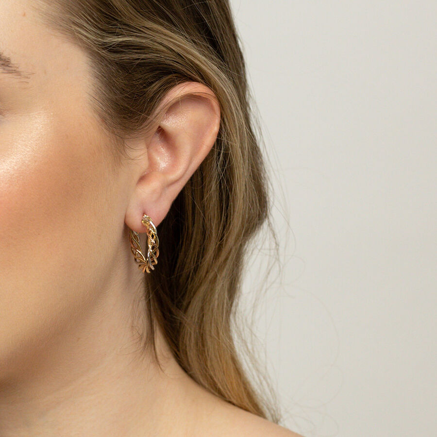Twist Earrings in 10ct Yellow, White & Rose Gold