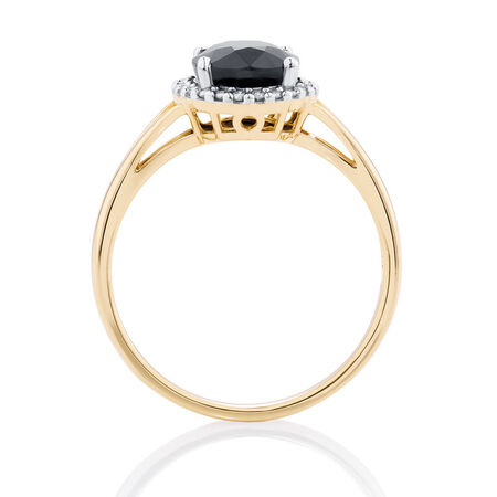 Online Exclusive - Ring with Sapphire & Diamonds in 10ct Yellow & White Gold