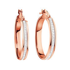 Glitter Hoop Earrings in 10ct Rose Gold