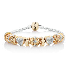 Starter Charm Bracelet With 0 57 Carat Tw Of Diamonds In 10ct Yellow Gold Sterling Silver
