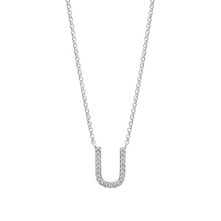 """U"" Initial necklace with 0.10 Carat TW of Diamonds in 10ct White Gold"
